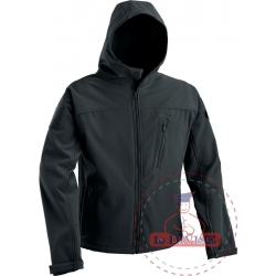 SOFT SHELL JACKET WITH FIXED HOOD